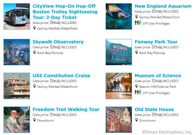 Some attractions on the GO Boston All-Inclusive discount pass