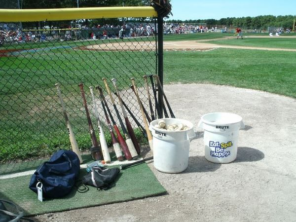 Bats and balls at Cape Cod Baseball League game