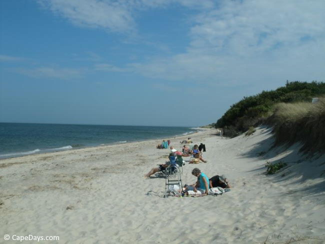 Vacationers on the beach in Brewster