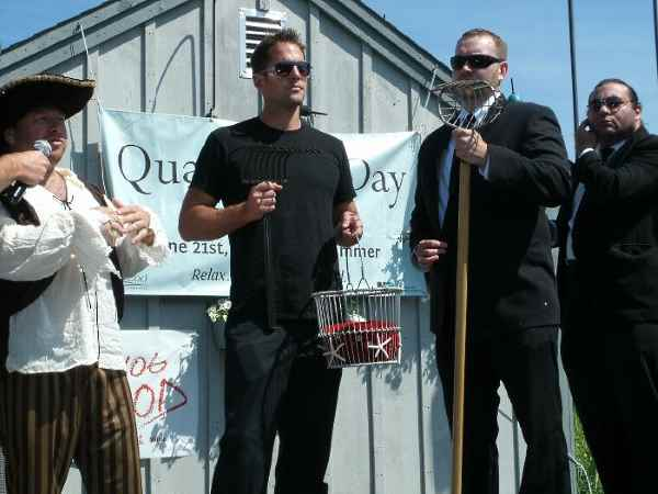Celebrities on stage at Quahog Day