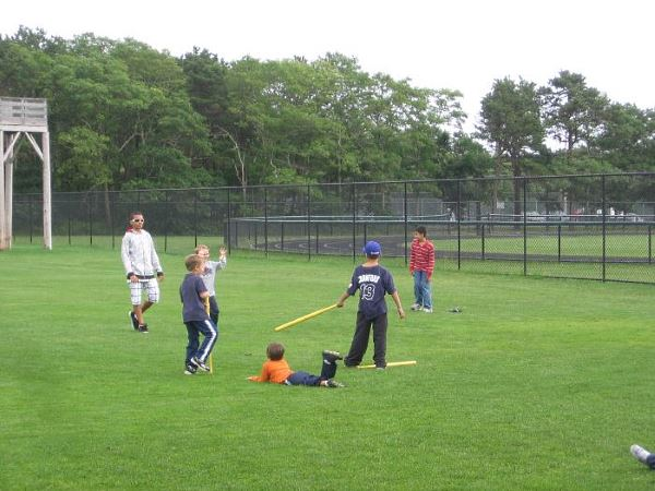 Kids playing at a Cape League game