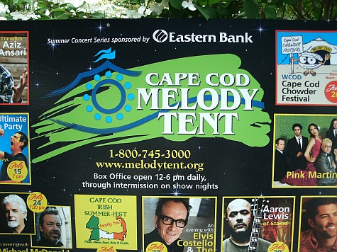 Coming attractions billboard at Cape Cod Melody Tent