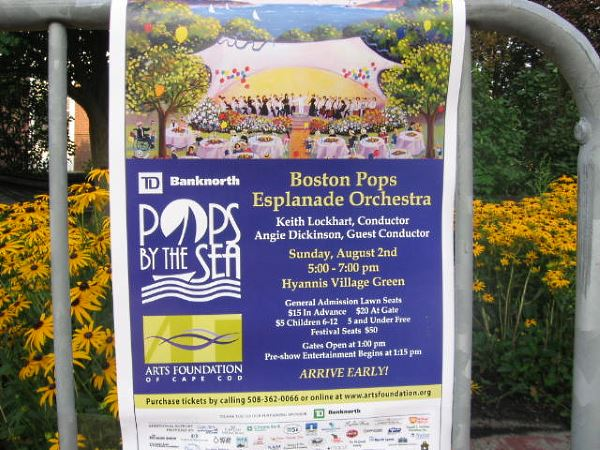 Pops By The Sea concert sign in Hyannis