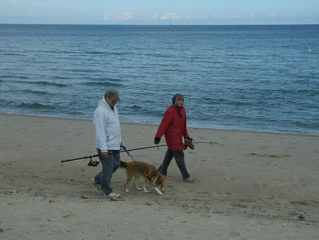 Couple and their dog at Scusset Beach