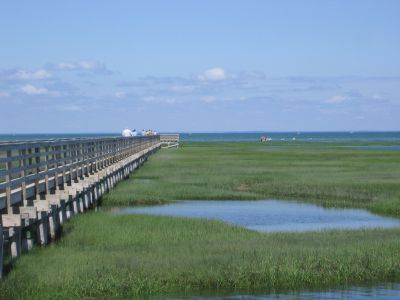 Boardwalk in Yarmouthport on Cape Cod Bay