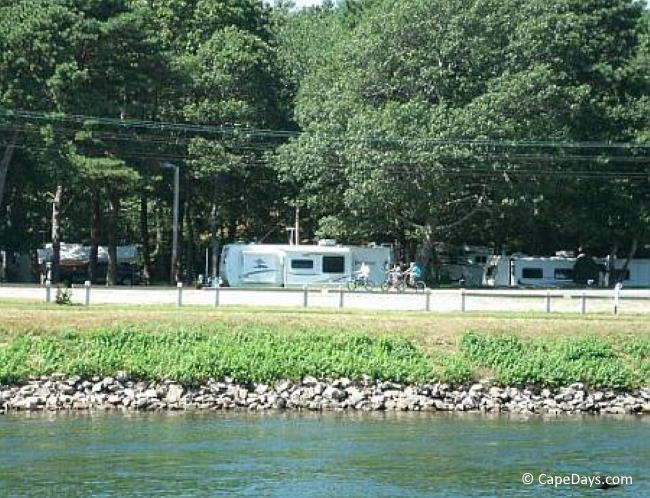 Campers at waterfront campground