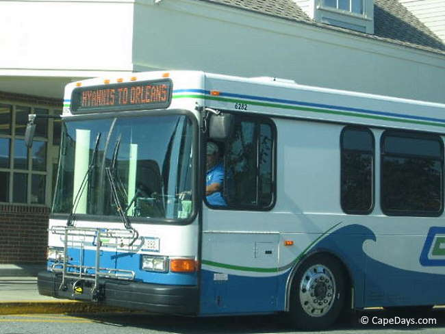 Cape Cod local bus stopped at a shopping center