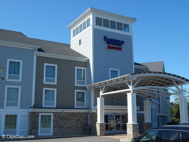 Parking lot and entrance to lobby at Fairfield Inn Cape Cod