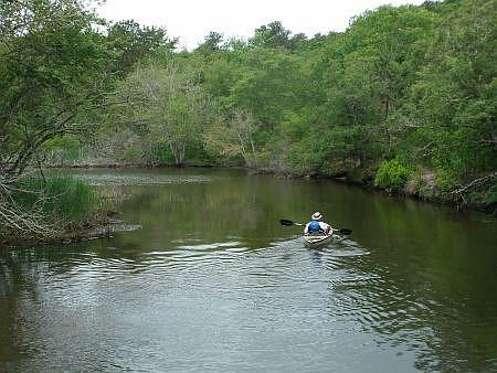 man kayaking on a creek