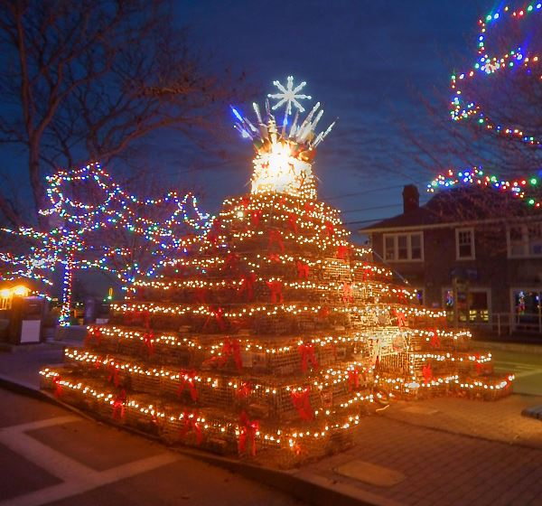 Huge Christmas tree made from lobster traps
