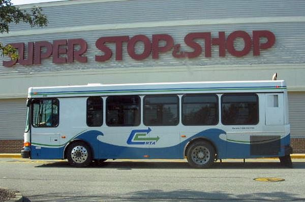CCRTA bus stopped at supermarket