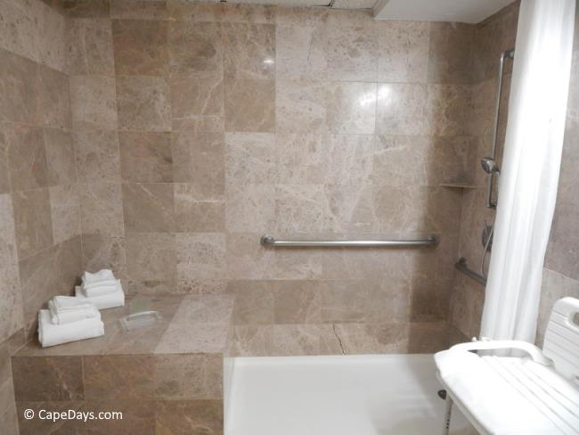 View of roll-in shower with adjustable wand, grab bars and removable seat