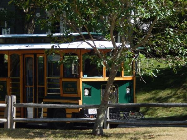 Trolley stopping to pick up passengers