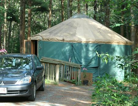 One of several yurts available for rent at Shawme-Crowell State Forest on Cape Cod